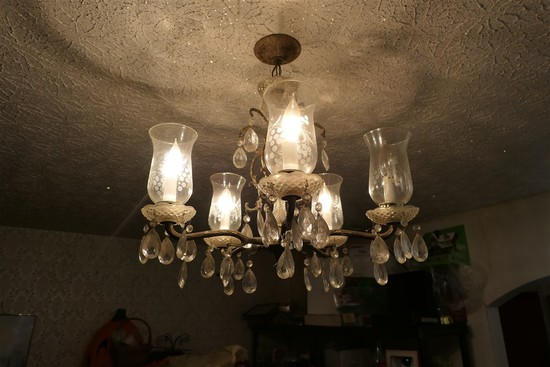 Vintage glass and metal Chandelier