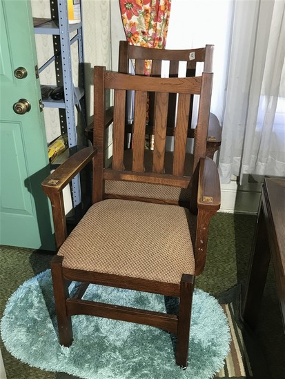 Pair Antique Mission Oak Armchairs