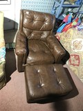 Vintage real leather lounge chair and footstool