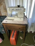 Newer Singer Sewing Machine + Old Cabinet