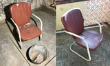 2 Vintage 50s Metal Outdoor Chairs + Bucket