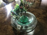 Glass Centerpiece + Green Flower Frog
