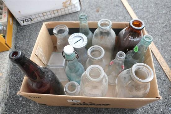 Assorted milk bottles & more lot