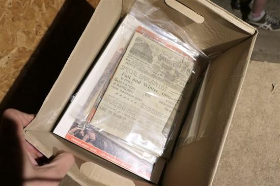 Box of Antique assorted paper, ephemera