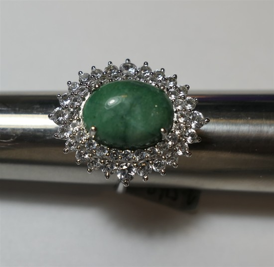 Brilliant Sterling Silver green jade and clear stone ring.