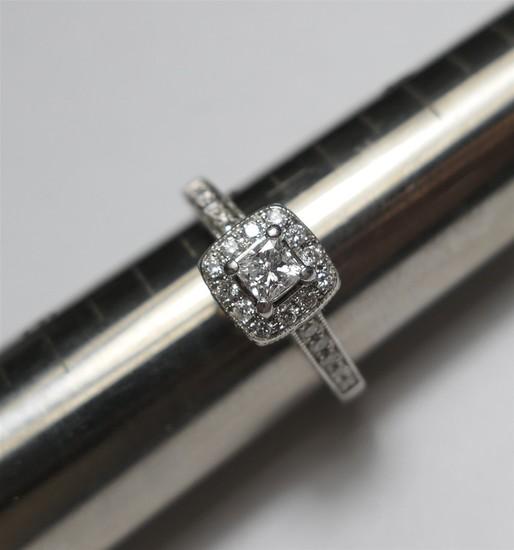 14k gold, antique style diamond engagement ring.