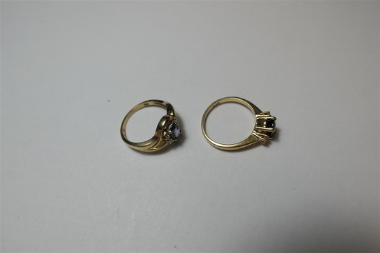 2 Gold Rings set with Sapphires