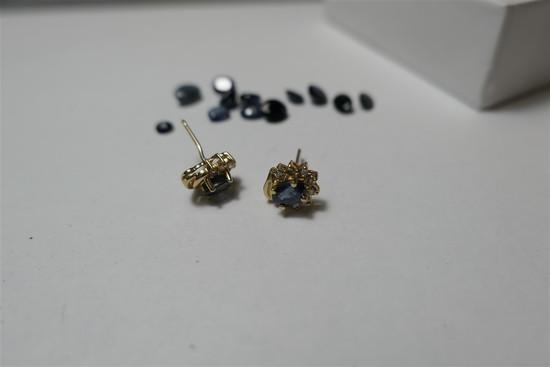 14k gold earrings PLUS sapphires