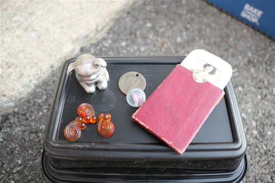 Old Coin, marble, buttons, racy mirror lot