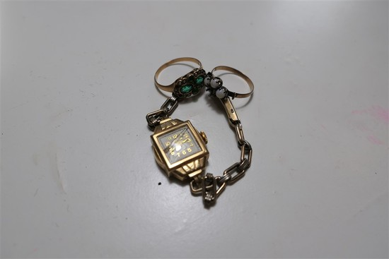 14k gold lady's watch, 2 early gold rings