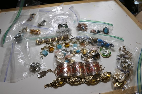 Large Lot Vintage Costume Jewelry, Native American rings