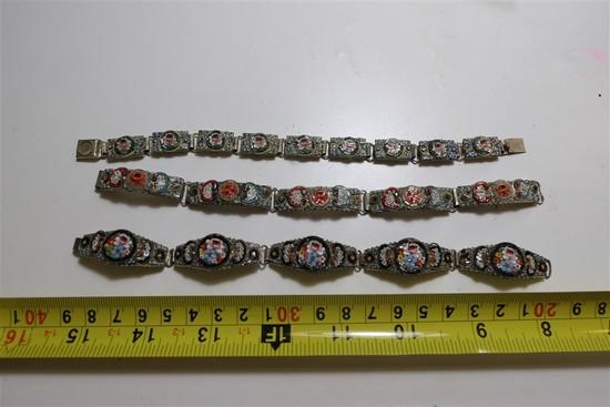 Three Antique Italian Mosaic Bracelets