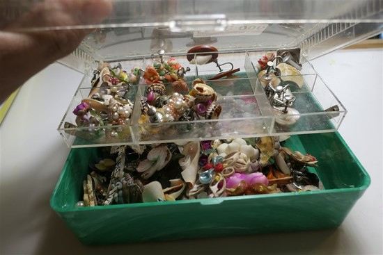 Box of shell and plastic vintage earrings