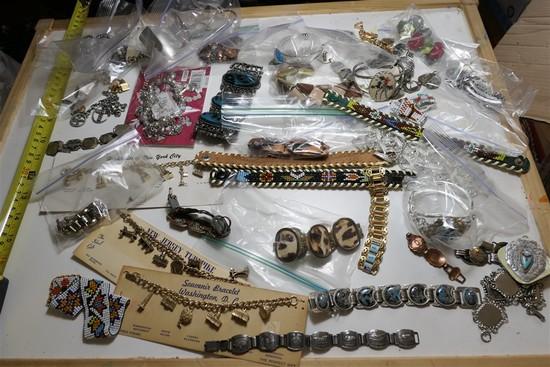 Huge lot vintage costume jewelry, native american etc