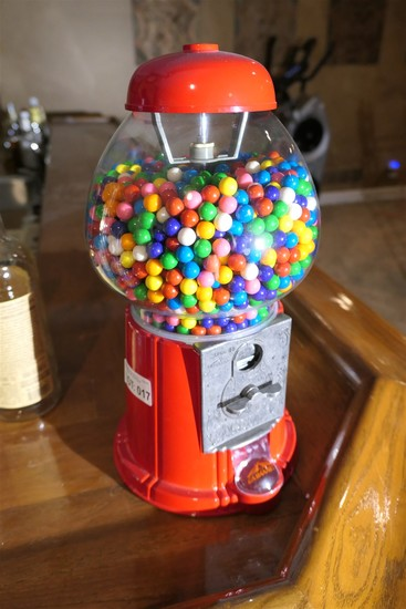 Metal and glass vintage style gumball machine