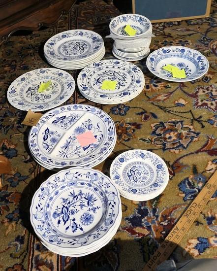 Large group lot of blue onion china