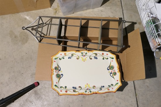Metal display stand & Large hand painted Italian platter