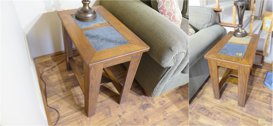 Pair of Nice Wood & Slate End Tables