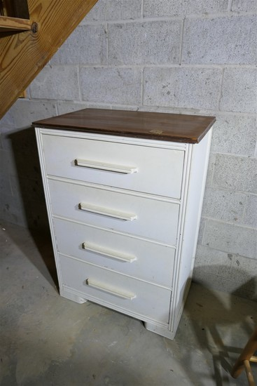 Vintage wooden dresser painted white