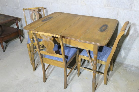 Antique Table & Three Chairs
