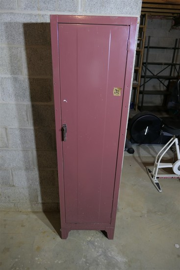 Vintage red metal storage locker