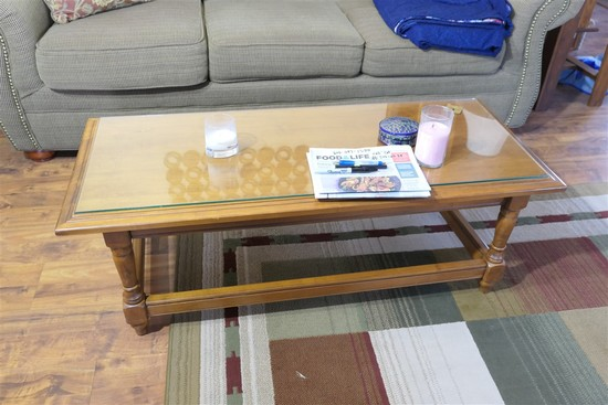 Vintage wooden Coffee Table w/Glass Top