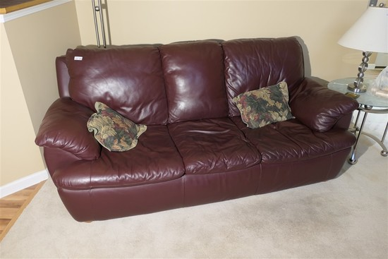 Faux Maroon Leather Couch - Nice