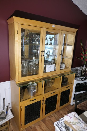 Vintage Modern Style Maple China Cabinet