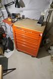 Vintage Metal tool box on wheels
