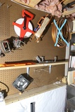 Assorted tools, clamps, tape measure etc lot