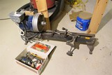 Early bench or jeweler's lathe + motor, parts