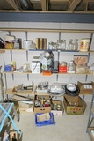 Wall lot misc basement items + luggage