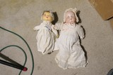 2 Antique Porcelain Dolls in clothing