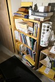 Vintage wooden shelf + Bird, Carving Books contents