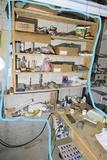Shelf and table - art supplies, tools, PanaVise etc