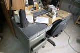 Metal desk and contents
