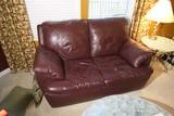 Faux maroon leather loveseat - nice