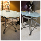 Pair of modern glass topped Leaf pattern lamp tables