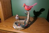 Carved wood and painted Cardinal birds by Emeric Zuccaro