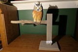 Carved wood and painted owl by Emeric Zuccaro