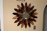 Metal starburst sun metal wall mirror