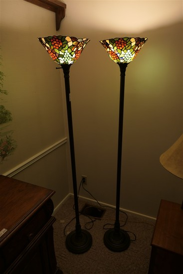 Pair of stained glass style floor lamps