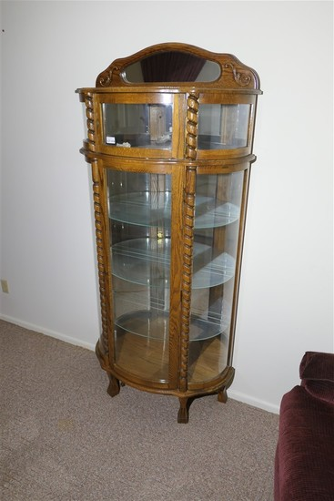 Vintage curved glass china or curio cabinet