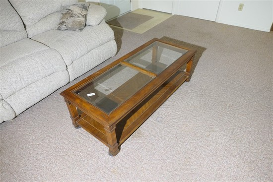 Vintage wooden and glass end table