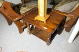 Vintage Chunky Wooden Lamp Table