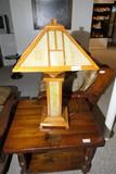 Vintage Arts & Crafts Mission Style Slag Glass Lamp