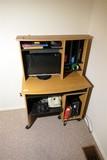 Smaller sized computer desk on wheels