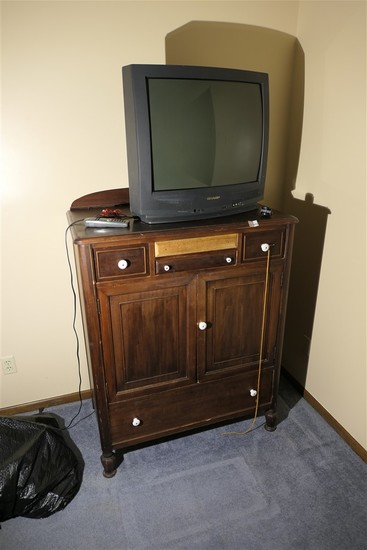 Antique Dresser and Television