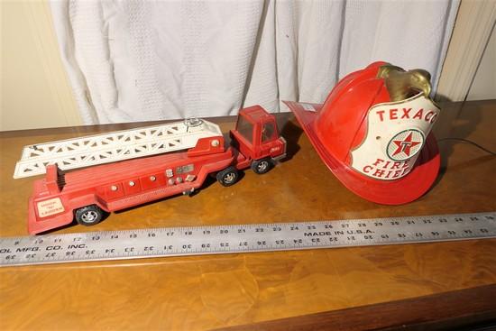 Buddy L toy Fire Truck + Texaco Fire Chief Helmet