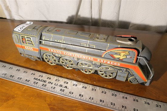 Vintage Metal Trans Continental Express Train Toy Battery Op